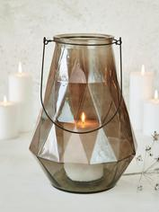 Geometric Glass Lantern - Smoke Grey