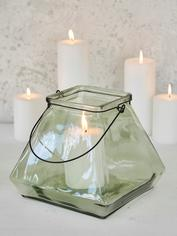 Square Glass Lantern - Aqua