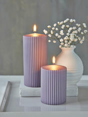 Rilled Pillar Candles - Lavender