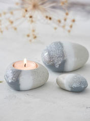 Arctic Tealight & Stones Set