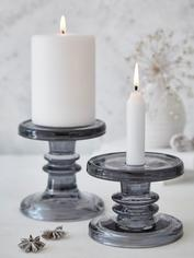 Smoke Grey Glass Candle Holders