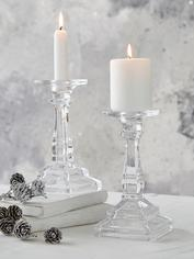 Glass Pillar and Dinner Candle Holder