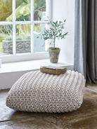 Chunky Knit Floor Cushion - Soft White