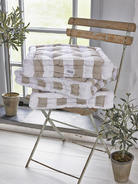 Cotton Box Cushion - Natural Stripe