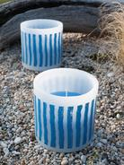 Striped Outdoor Candle - Nordic Blue
