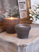 Wicker Candle Pots - Chocolate Brown