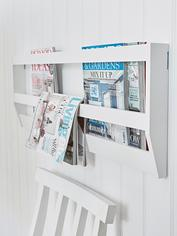 White Wall Magazine Rack