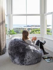 Luxurious Sheepskin Bean Bag - Steel Grey