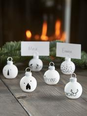 Six Bauble Name Place Holders - Black