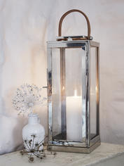 Stainless and Leather Strap Lanterns - M
