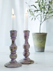Purple Wooden Candle Holder