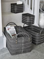 Graphite Grey Felt Basket Set