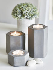 Hexagonal Tealight Holders - Concrete Grey