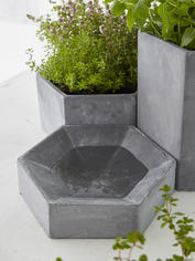 Hexagonal Concrete Bird Bath